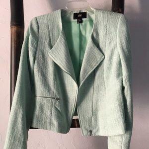 H&M mint green moto style jacket